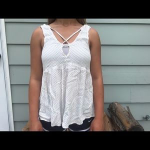 American Eagle low front polka dot tank top